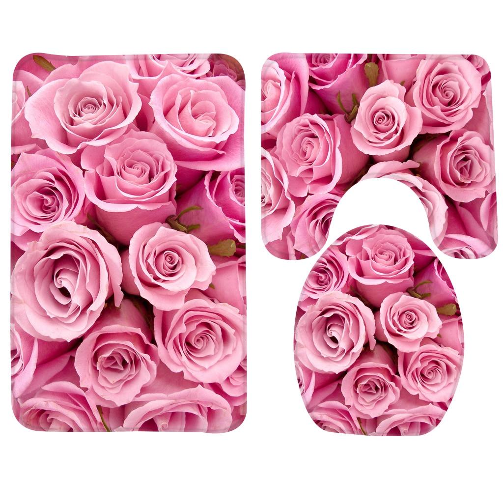 3pcs Bathroom Mat Set Pink Roses Pattern Bath Mat Anti Slip Shower Mat and Toilet Mat Bathroom Products