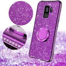 Glitter Powder Diamond Case For Samsung Galaxy S8 S9 S10E Edge Plus Note 8 9 Fashion Bling Silicone Magnetic Car Stand Cover