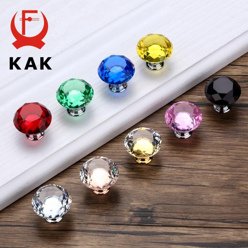 KAK 30mm Diamond Shape Design Crystal Glass Knobs Cupboard Pulls Drawer Kitchen Cabinet Handles Furniture Handle Hardware