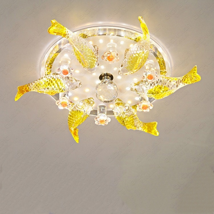 Lámpara de techo de cristal, luces led para pasillo, luces de cristal para pasillo, lámpara de techo para porche y balcón en forma de pez, venta al por mayor