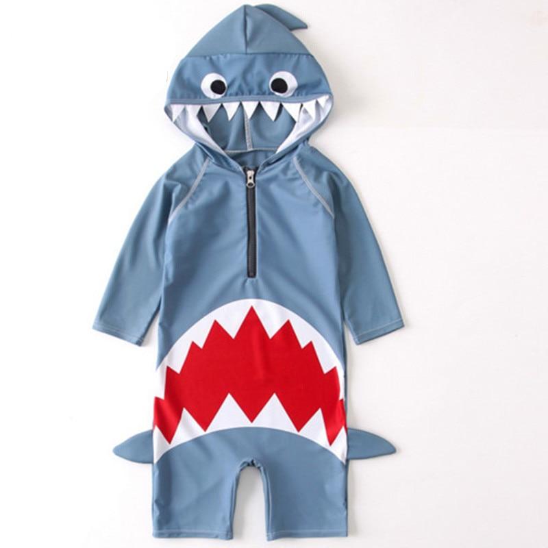 2019 New Summer Baby Boys Girls Hooded Swimwear Shark Swimming Suit Infant Toddler Kids Children Beach Bathing Costume Retail