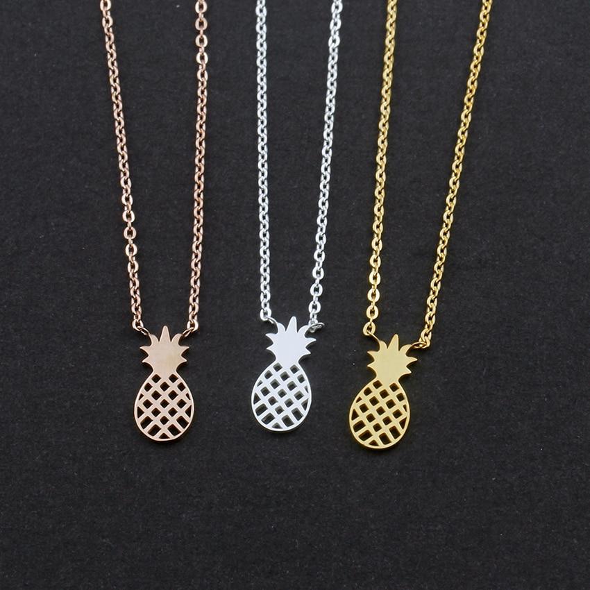 Collar de piña, accesorios de joyería de moda para mujer, cadena de acero inoxidable con brillo suave en oro rosa, bisutería para mujer