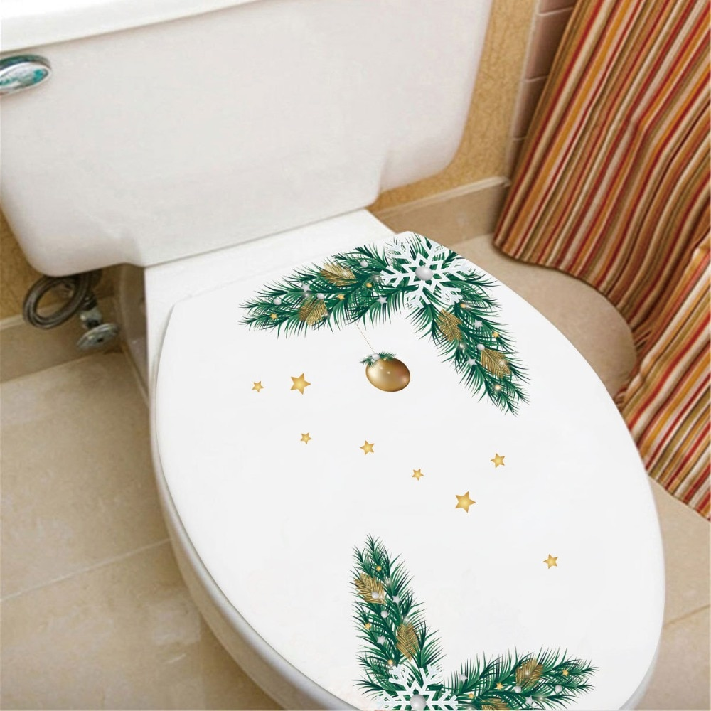 Pegatina de pared de baño 3D estrellas para árbol de Navidad, nevera, armario, ventana, Mural artístico, decoración navideña, cartel removible de PVC, papel tapiz