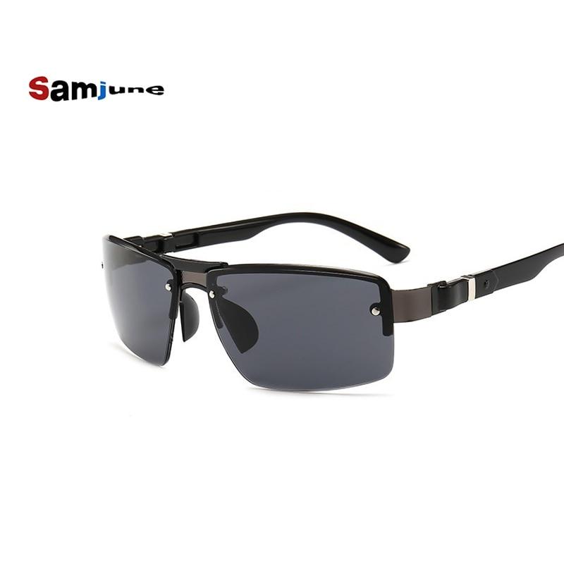 Samjune New Classic Rimless Metal Sunglasses Men Retro Brand Sport Sunglasses Double Bridge Gradient
