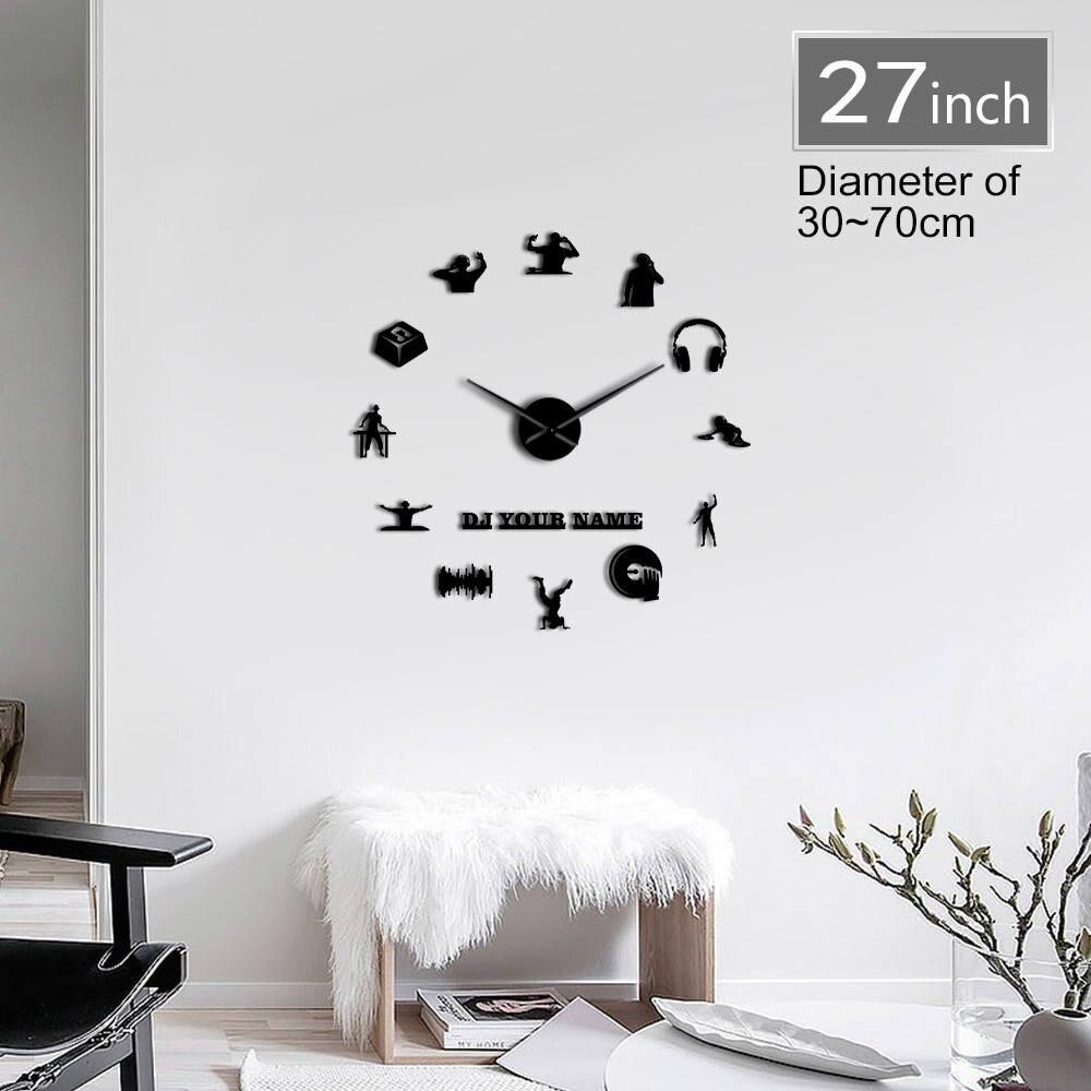 Reloj de DJ y discoteca sin marco 3D DIY, reloj gigante de pared personalizado, DJ tu nombre a la moda, decoración para fiesta de música en casa, reloj de acrílico