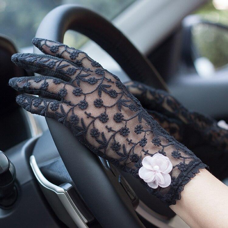Женская весенне-летняя элегантная кружевная перчатка, женские цветочные вышитые перчатки, Нескользящие тонкие дышащие перчатки для верхов...