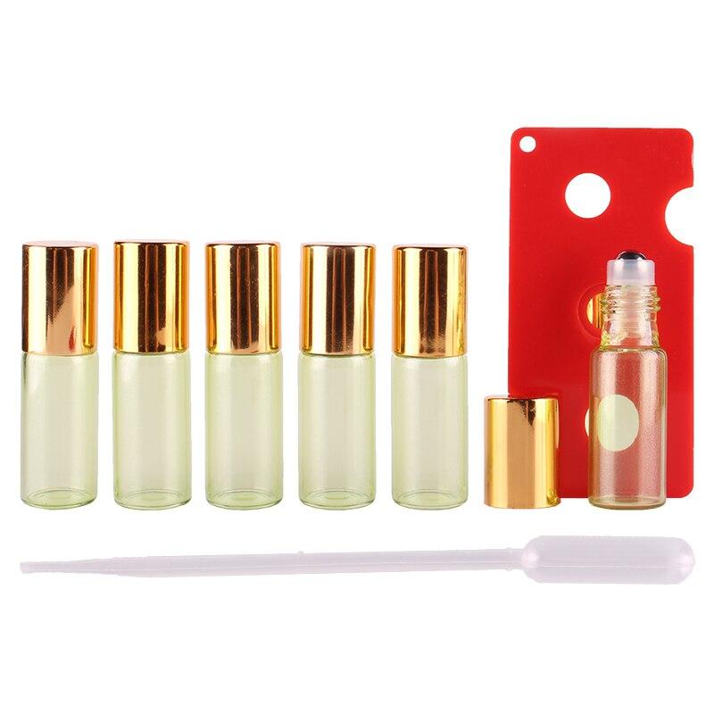Rolo de vidro revestido pérola verde do óleo essencial de 6 pces 5ml em garrafas com bola de rolo de aço inoxidável para a aromaterapia do perfume