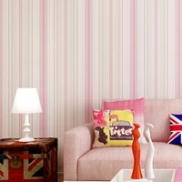 new kids rooms striped wallpaper sticker pink blue self adhesive mural non woven wallpapers roll diy home decor wall paper zp110