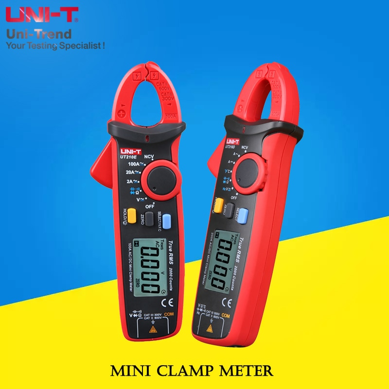 UNI-T UT210A/UT210B/UT210C/UT210D/UT210E Mini medidor de abrazadera; Amperímetro de rango automático/VFC/NCV/Prueba de Temperatura