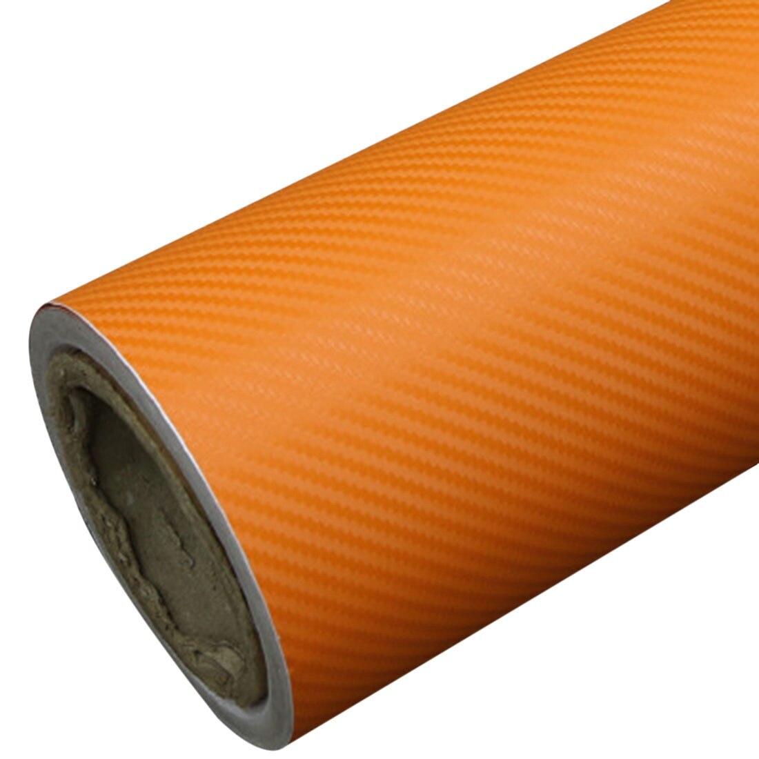 DIY 30x127 3D calcomanía fibra de carbono rollo de película de vinilo rollo adhesivo coche pegatina hoja naranja