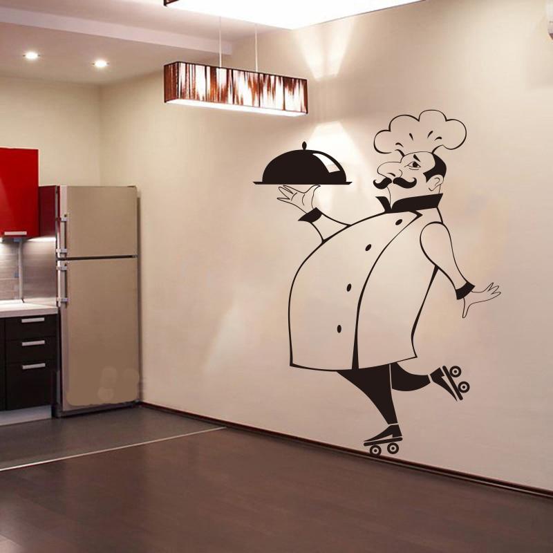 Calcomanías de pared de Chef divertidas para azulejo de cocina, paredes de vidrio, vinilo impermeable, decoración de pared del hogar, calcomanías de pared, DecorationGG-49 de casa
