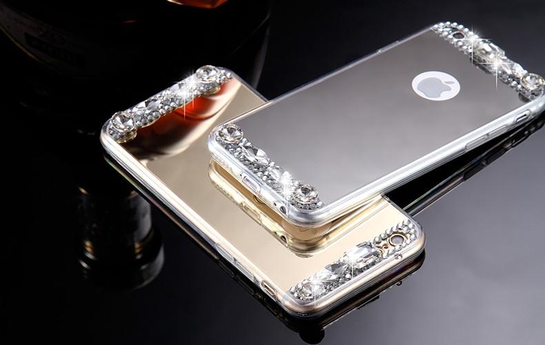 Dla iphone 6 7 case glitter lustro sprawach phone bag dla iphone 7 6 6 s plus 5S 5 se diamond case do samsung s8 plus s6 s7 krawędzi 8