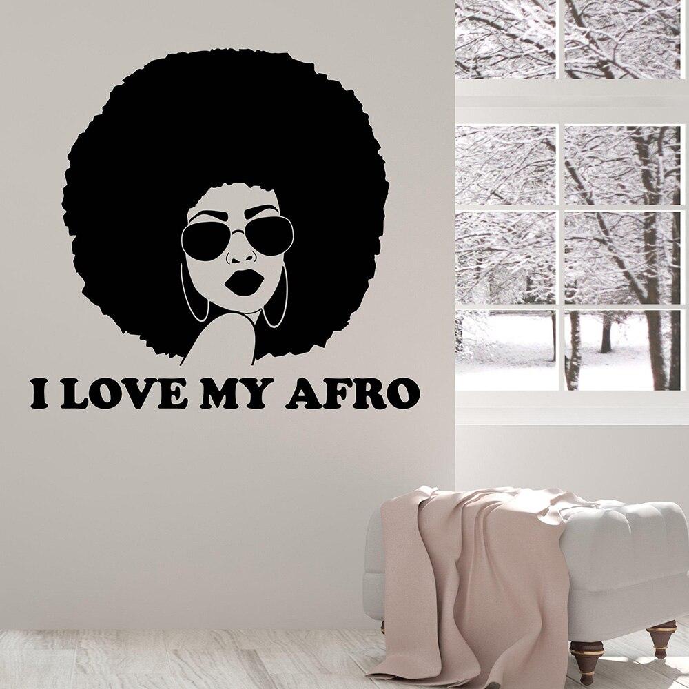 Hermosa calcomanía de vinilo para pared de mujer Afro para decoración del hogar adhesivos removibles para pared