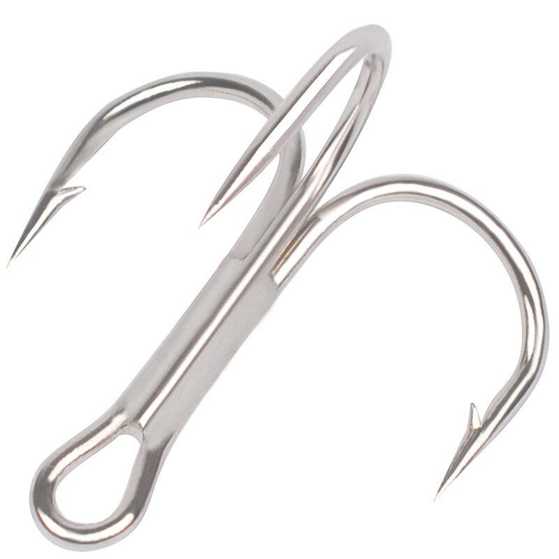 Treble Fishing Hooks 50pcs/lot Silver Super Strong Round Bend Barbed Triple Hooks Size 2# 4# 6# 8# 10# 35647