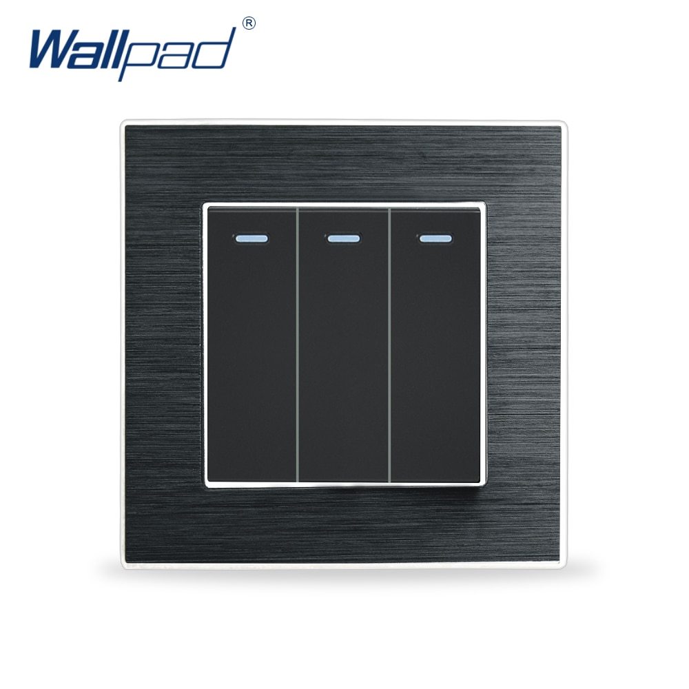 3 Gang 2 Way Switches Wallpad Luxury Wall Light Switch Satin Metal Panel Rocker Switches Interrupteur