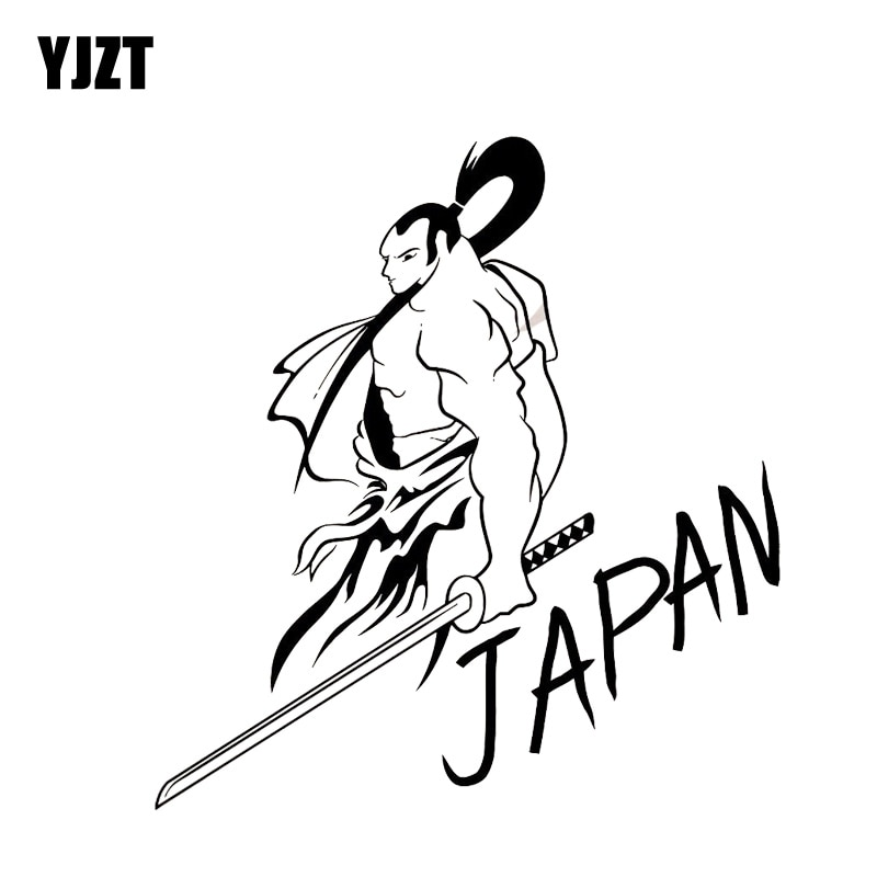 YJZT 13.1*14.1CM Covering The Body Cool Fashion Japan Samurai Warrior Soldier Car Sticker Black/Silver Vinyl C21-0038
