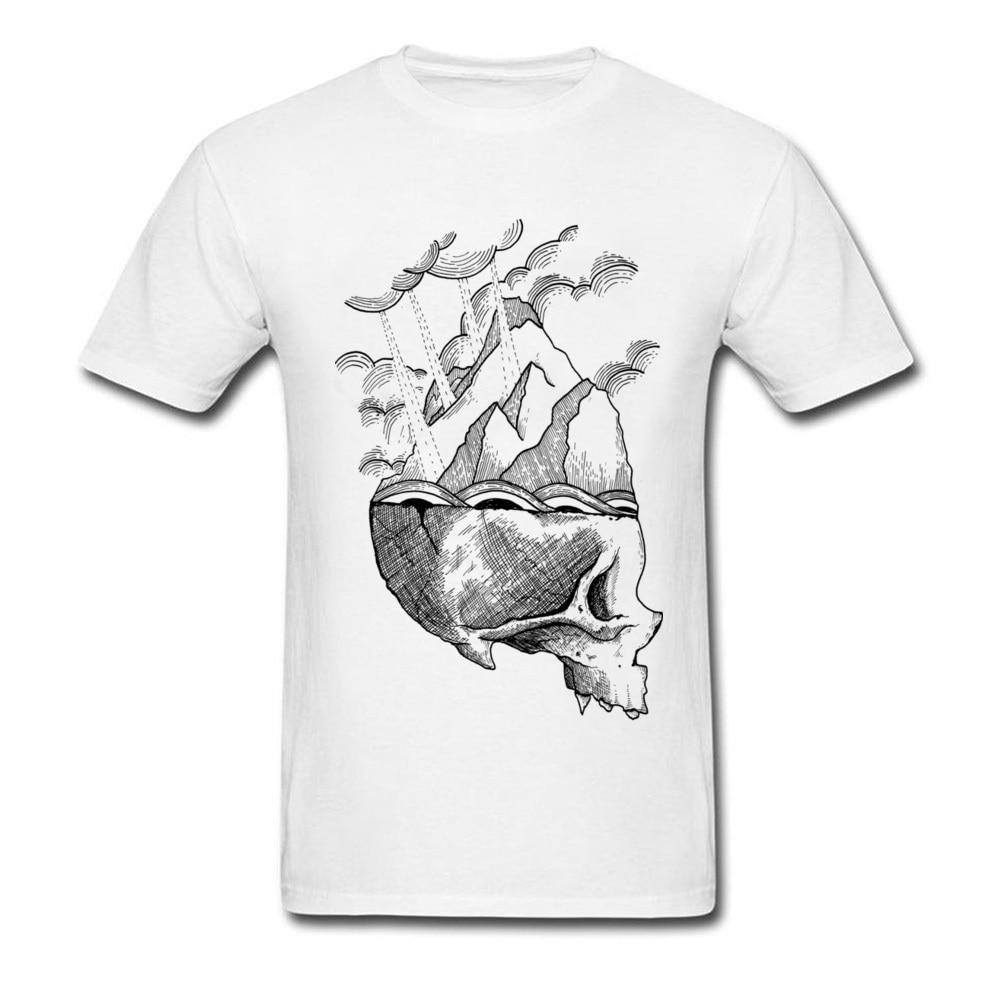 Whimsical Sketch Skull Mountain Футболка мужская черная белая 100% хлопок не выцветает Высокое качество День отца крутая футболка