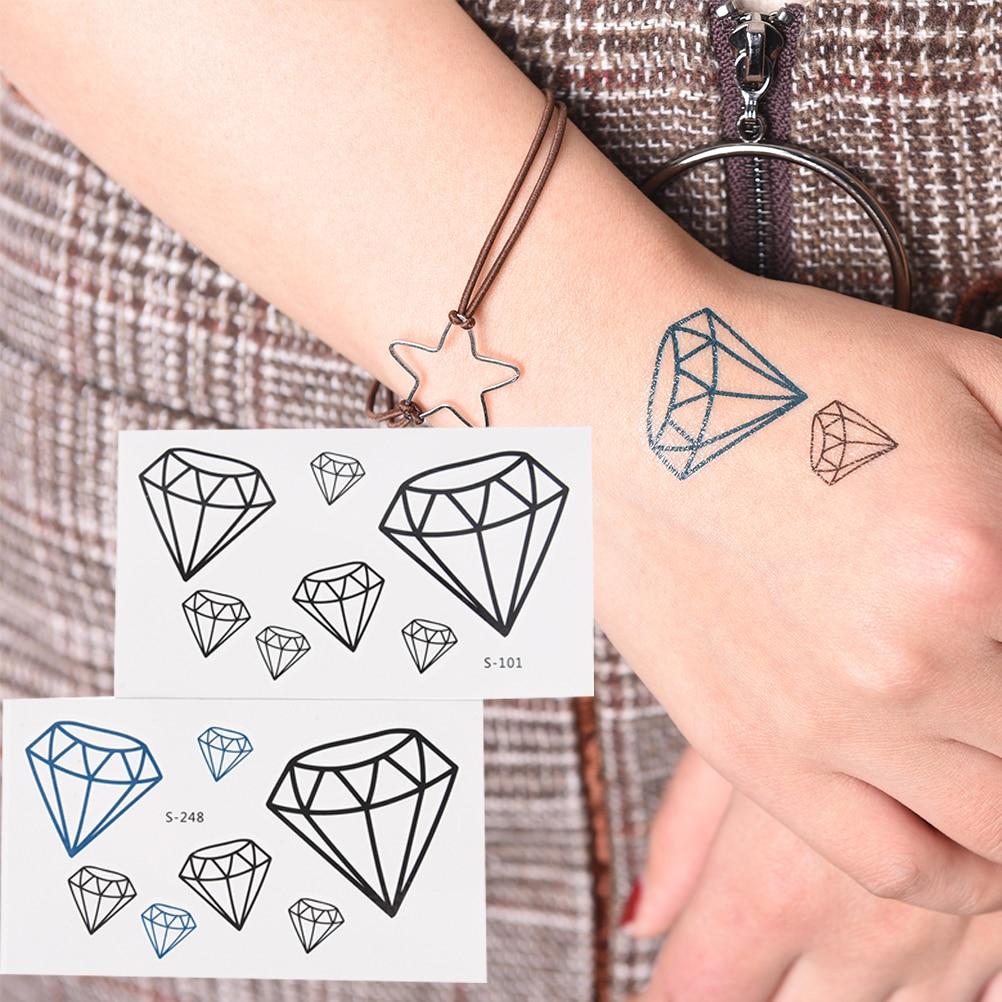 Precioso tatuaje temporal de corazón de diamante de maquillaje impermeable 1 pieza tatuaje temporal para hombre mujer pegatinas maquillaje Maquiagem