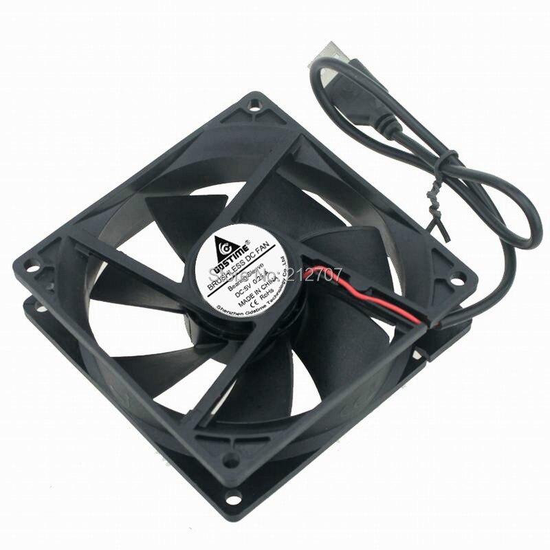 5 шт. Gdstime 92 мм 92x92x25 мм 9225 USB DC 5V охлаждающий вентилятор для компьютера PC CPU Case Cooler