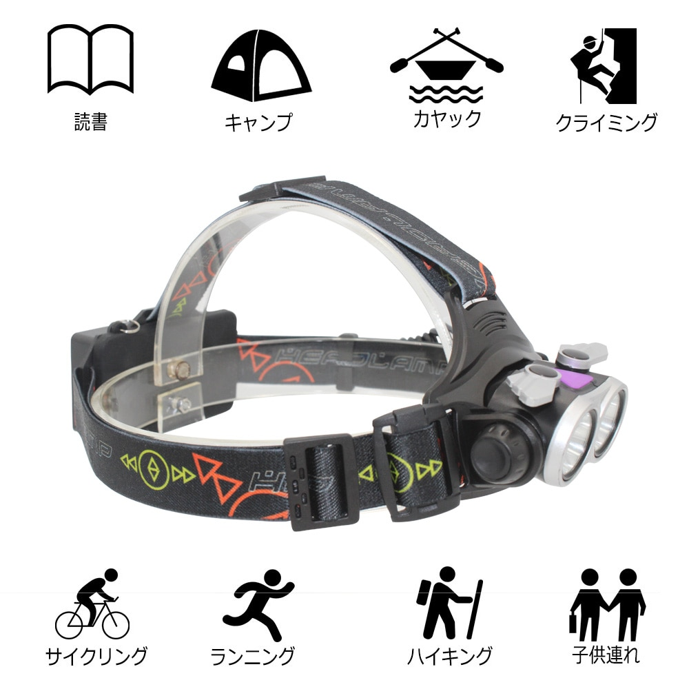 Rechargeable Headlight LED Headlamp Head Lamp Fishing Light Flashlight 2x XM-L T6 LED with 18650 Battery + USB Charging Cable