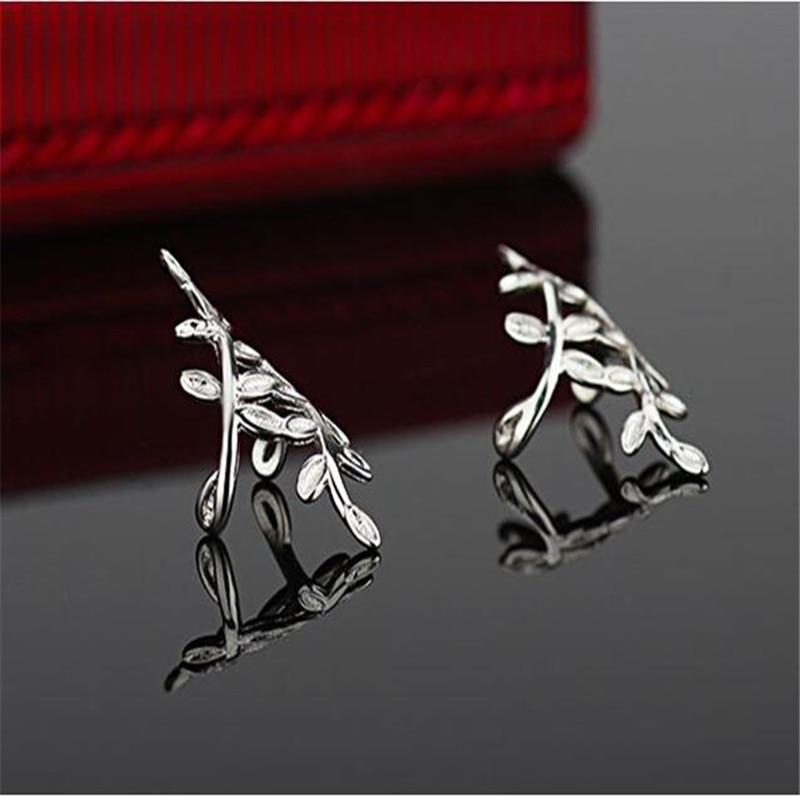 Venda quente 925 prata esterlina pequena folha clipe de orelha sem furo de orelha fêmea sul-coreano orelha osso clipe novos brincos eh059