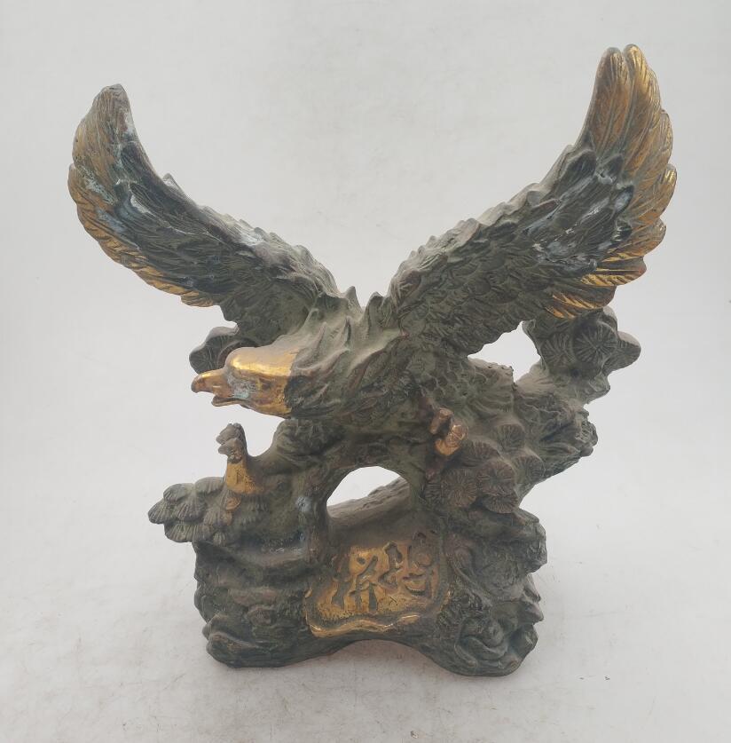 Colección estatua de águila dorada de bronce antiguo hecha a mano china, escultura antigua para decoración del hogar