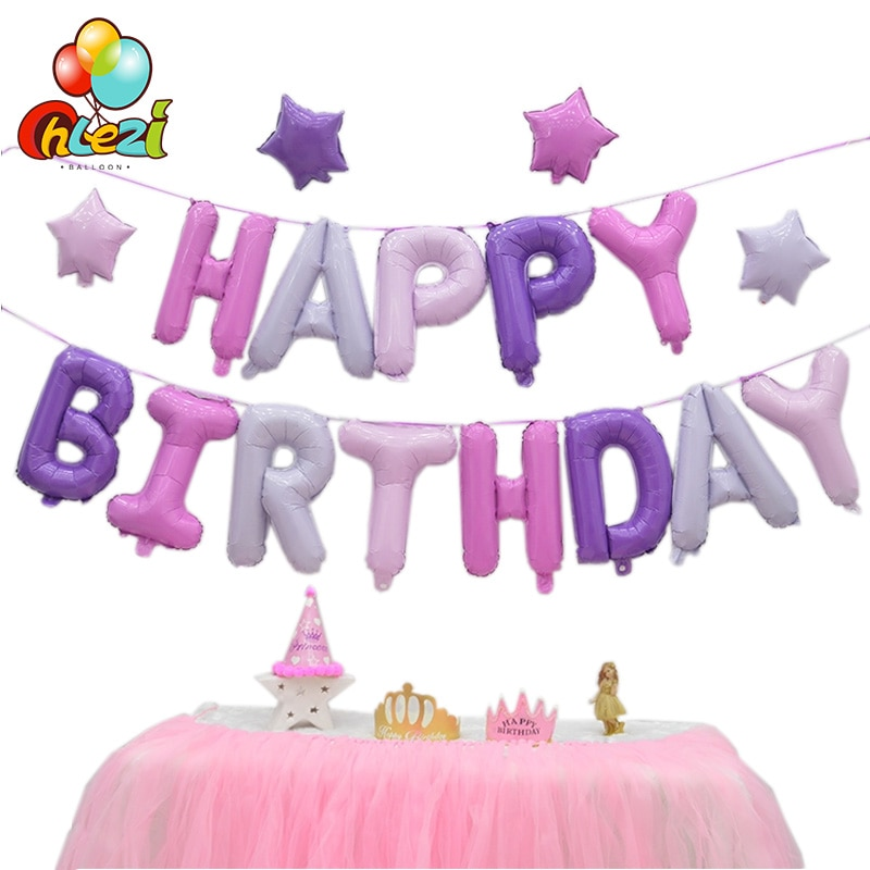 AliExpress - Happy Birthday Balloons alphabet letters hanging Golden Silver Pink Blue Birthday Party Decoration Kids Foil balloons Garland