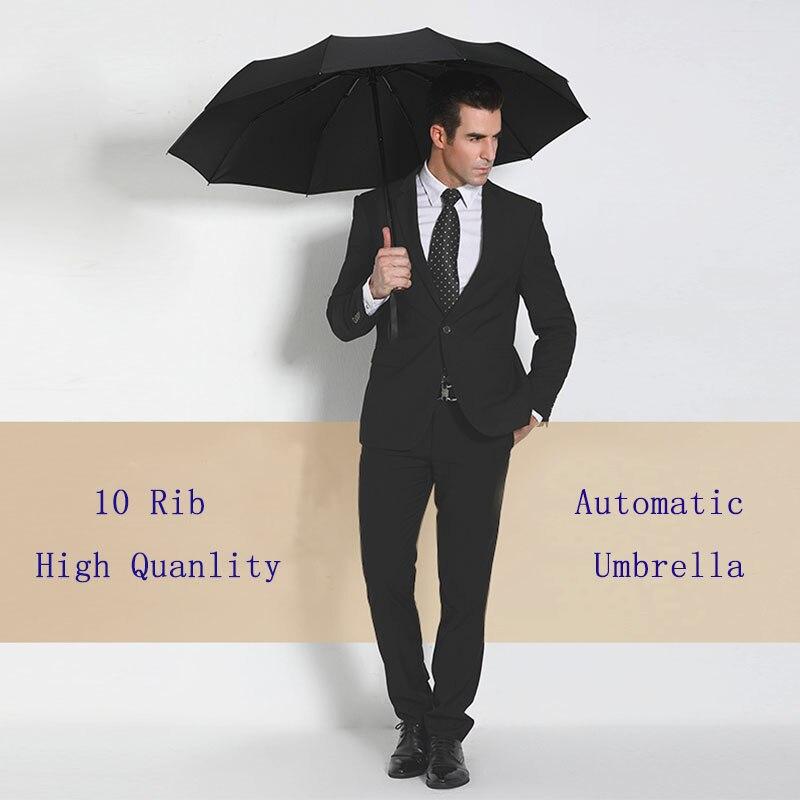 Paraguas grande a prueba de viento y resistente totalmente automático para hombre, paraguas con varillas para lluvia, sombrilla para mujer, sombrilla de golf de marca, Ideas de regalo claras Z647