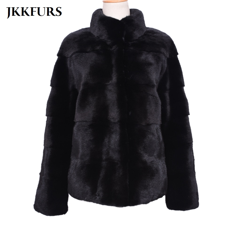 2019 New Mink Fur Coat Natural Genuine Stand Collar Top Quality Imported Jacket Women Black Outwear S7499