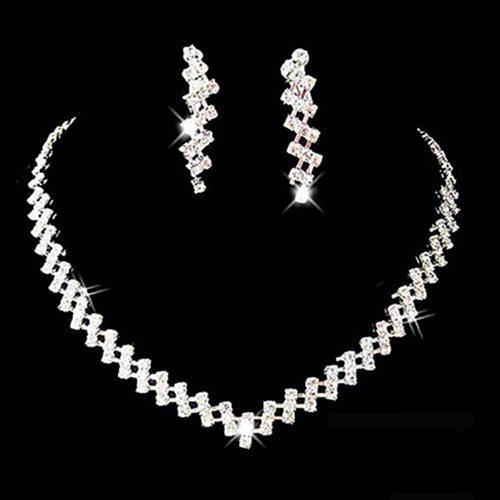 Women Necklace Earring Set Bridal Wedding Prom Jewelry Shiny Rhinestone Elegant stainless steel dubai jewellery sets for women