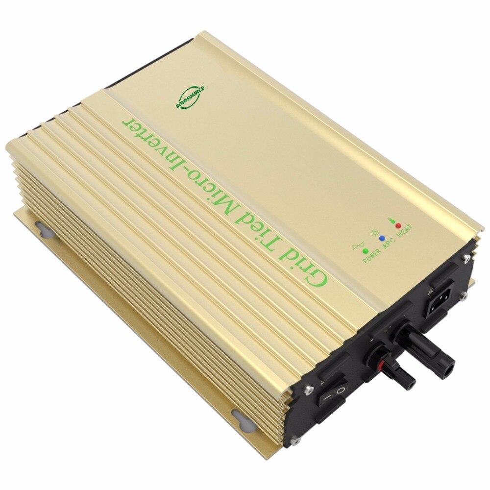 Inversor de conexión a red de 500W 24v para pv-voc 26v-45v dc a ac 110v 220v inversor de corriente para batería de 24V de alta eficiencia de seguimiento sinusoidal pura