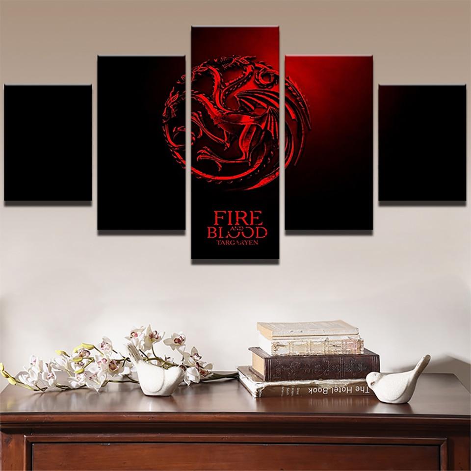 Casa de lona impresiones de alta definición de 5 piezas película de Juego de tronos, imagen de pintura modular de la pared cartel de ilustraciones para dormitorio enmarcado