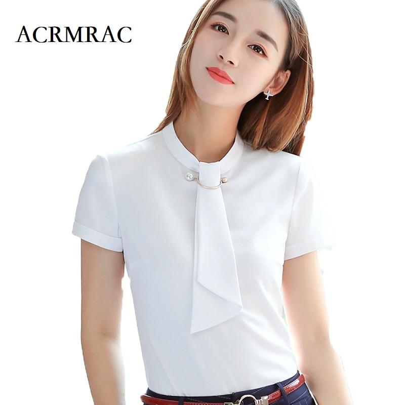 Camisas de mujer de ACRMRAC nuevo estilo de verano de manga corta de color sólido Delgado cuello redondo de negocios OL blusas y camisas formales