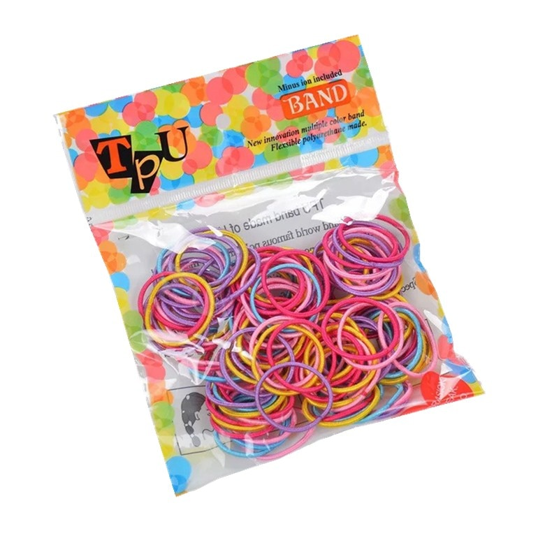 100 unids/lote bandas elásticas básicas para el pelo de bebé de 3CM cinta para el pelo segura de Color caramelo accesorios bonitos para el pelo para niñas princesas gomas para el pelo