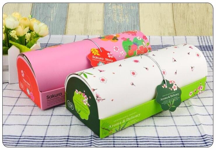 Caja de pastel de flores de Sakura rosa y verde y bolsa de papel, conjunto de pasteles, galletas, pasteles, dulces, embalaje de regalo, 100 Uds./lote envío gratis