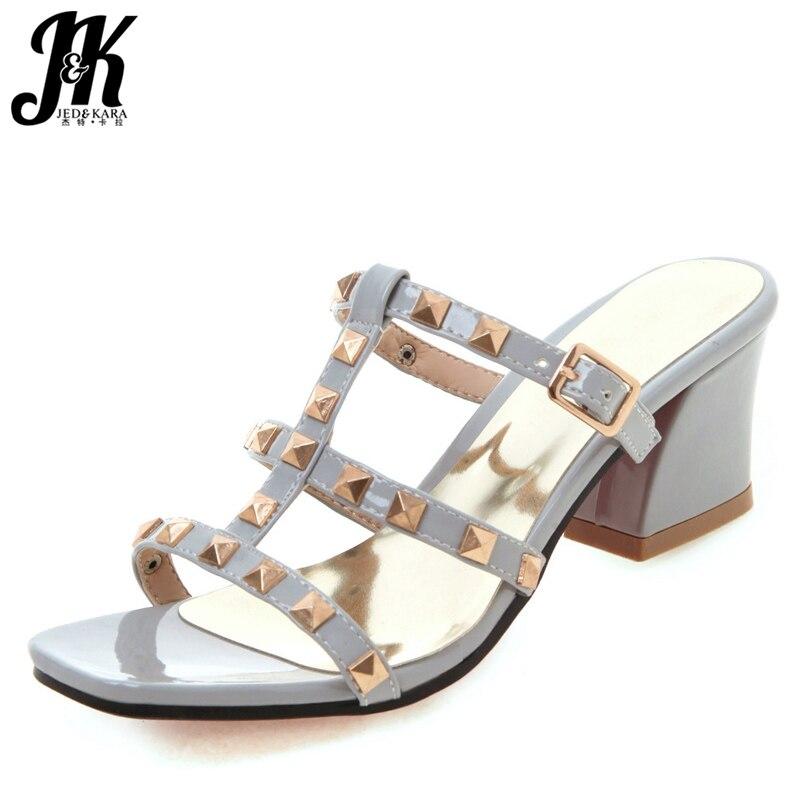 ¡Novedad de 2019! zapatillas de gladiador con remaches JK, zapatos de tacón alto con tachuelas para mujer, zapatos sexis de verano con punta abierta