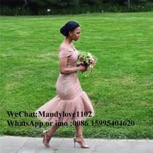 2019 dernière robe de demoiselle dhonneur rose sirène africaine avec Applique dentelle hors de lépaule longueur de thé robes de mariée offre spéciale