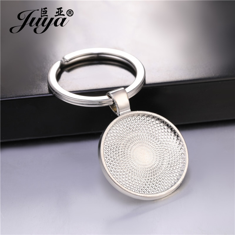 5/10 Uds 25mm Cabochon Blank llavero colgante Base hecho a mano llavero con anilla para llaves apto 25mm cristal DIY joyería hacer accesorios