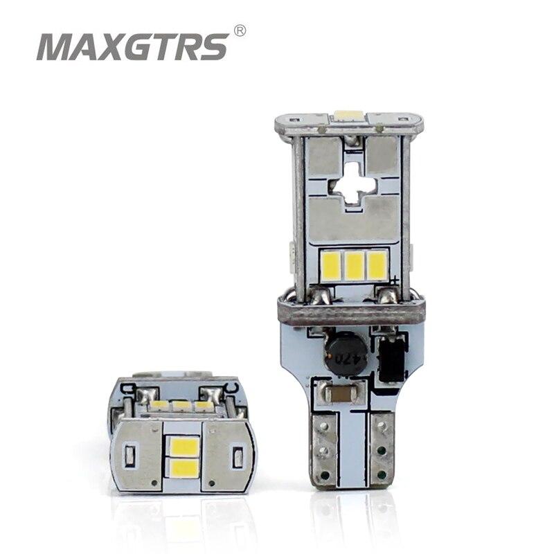 MAXGTRS 2x nueva actualización extremadamente brillante T15 W16W Canbus SMD3020 912 921 blanco 4300K coche LED Luz de marcha atrás de coche bombilla
