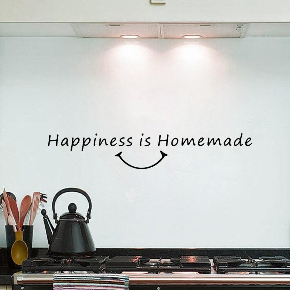 Pegatina de vinilo para pared de comedor, cocina casera, felicidad, cita artística, decoración con letras