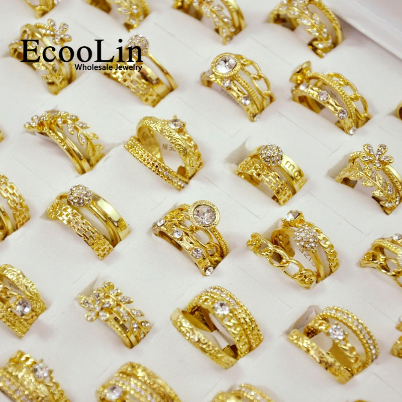 300Pieces = 100Sets New Hot 3 in 1 Zircon GoldPlated Rings Sets For Women Wholesale Jewelry Bulks Lot Free Shipping LR4038