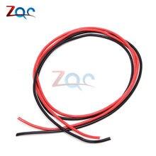 1 conjunto 14 awg calibre fio flexível silicone encalhado cabos de cobre para rc preto 1 m + vermelho 1 m = 2 m