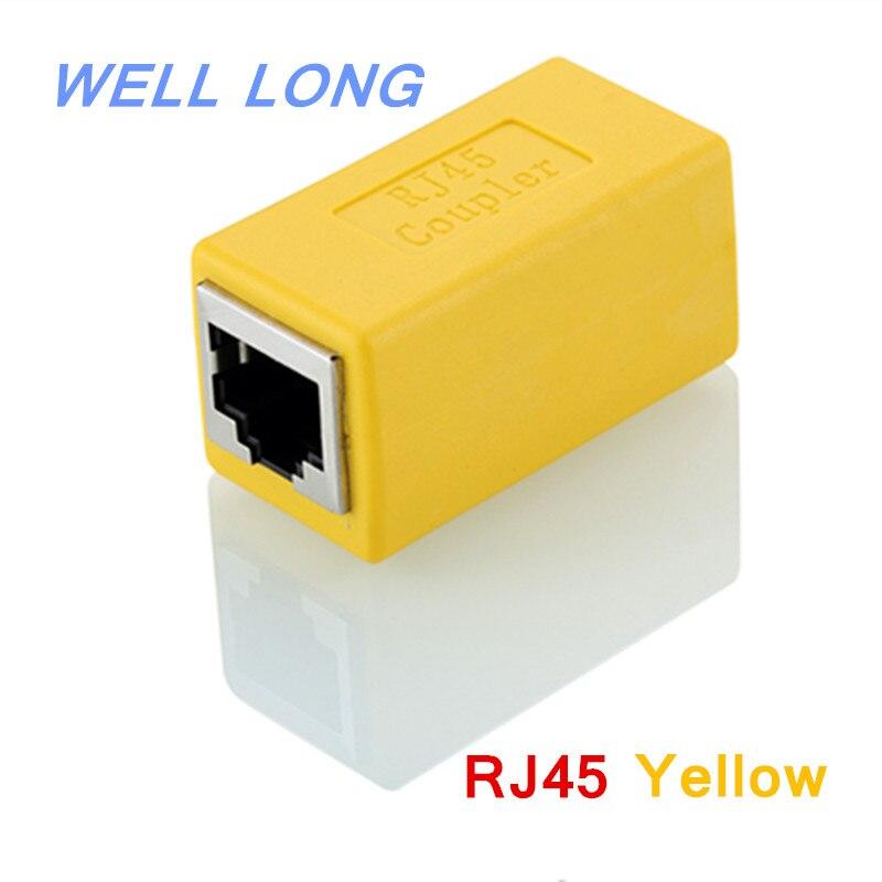 (50 unids/lote) RJ45 extensor de cable de red conector doble red pasar a través de conector