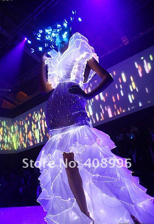Vestido de novia luminoso de fibra óptica o vestido de cóctel/traje luminoso