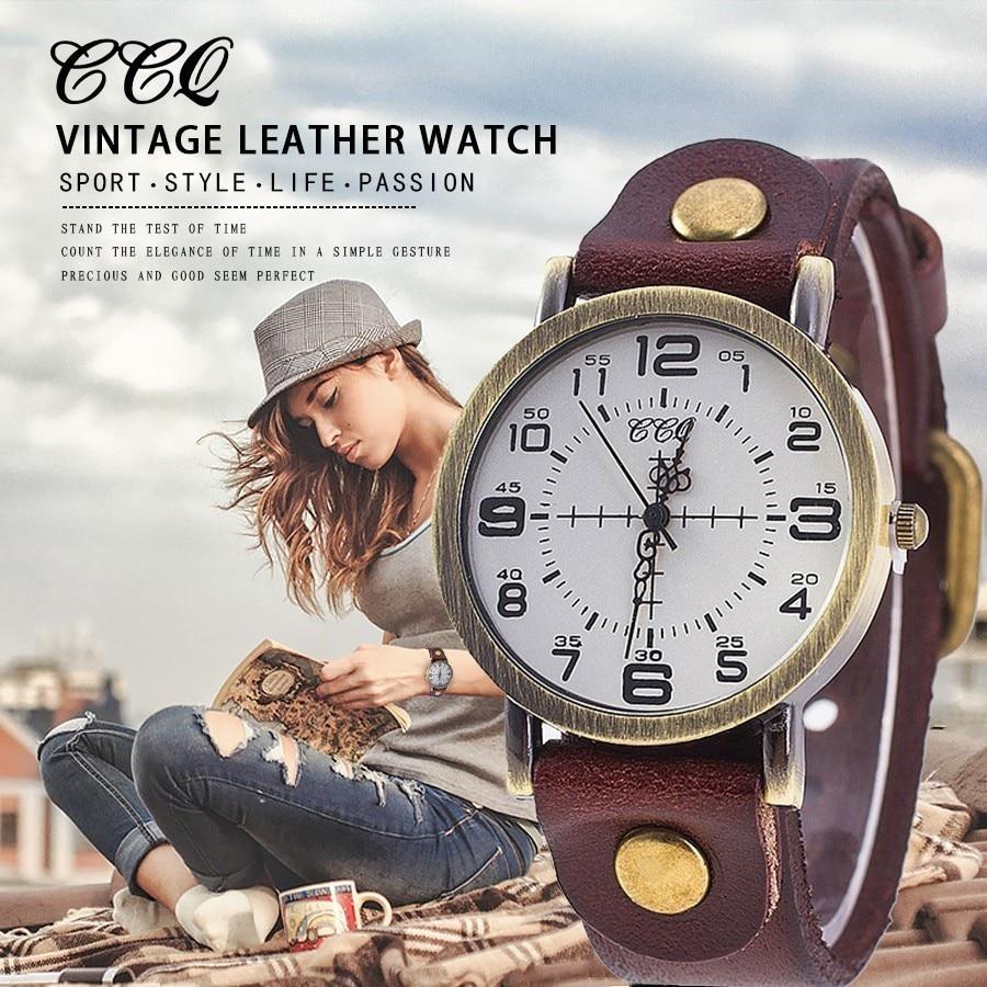 Hot Selling CCQ Vintage Cow Leather Bracelet Watch Women Wrist Watches Casual Luxury Quartz Watch Relogio Feminino Drop Shipping