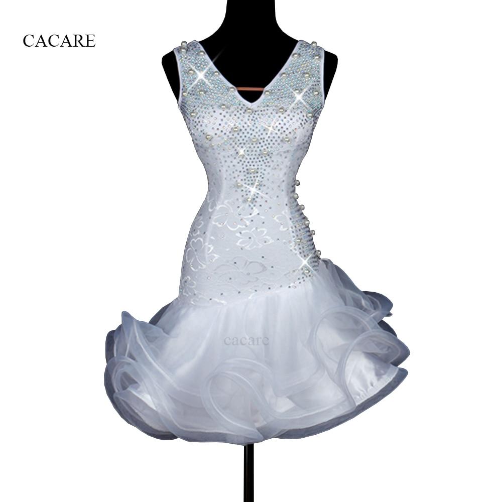 Luxury Latin Dance Dress Women Tango Salsa Dress White Color D0175 with Rhinestones Pearls Fluffy Sheer Hem Underwear Seeveless