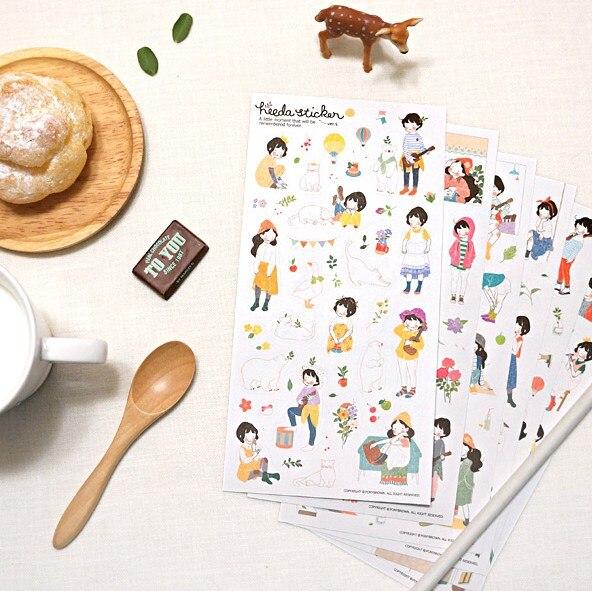 6 листов/упаковка Heeda второй квартал Отдел лесоводства девушка сладкий дневник ПВХ, прозрачные наклейки H0138