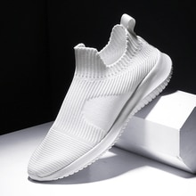 Blanco sólido informales de punto a la moda para hombre, superligeros, transpirables, calcetines elásticos, zapatillas deportivas, Tenis, Masculino, negro