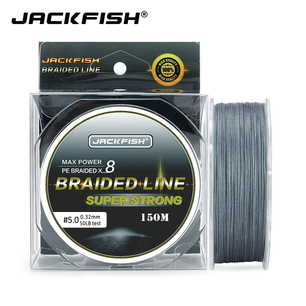 JACKFISH 8 hebras 150M Super fuerte hilo de pescar de PE trenzado 10-80LB multifilamento sedal de pesca de carpa pesca agua salada