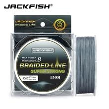 JACKFISH 8 brins 150M Super fort PE tressé ligne de pêche 10-80LB Multifilament ligne de pêche carpe pêche en eau salée